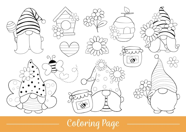 Pagina da colorare gnomo carino