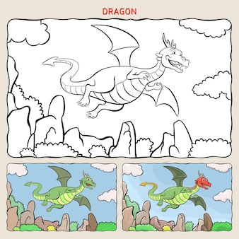 Pagina da colorare di drago con due campioni da colorare