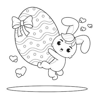 Pagina da colorare buona pasqua con il coniglietto