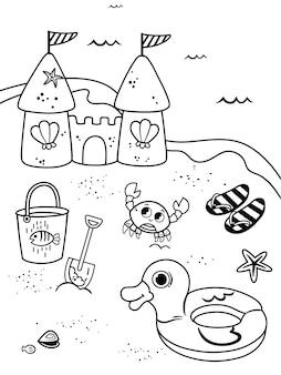 Pagina da colorare per bambini in illustrazione vettoriale di tema della spiaggia