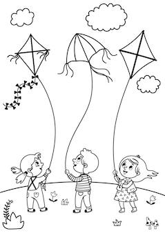 Pagina da colorare per bambini bambini che giocano aquiloni illustrazione vettoriale in bianco e nero