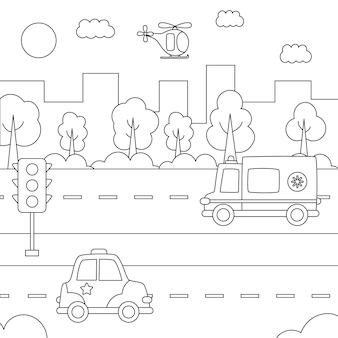 Pagina da colorare per bambini. vista sulla città con i mezzi di trasporto. paesaggio urbano in bianco e nero.