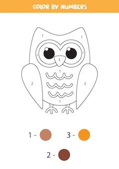 Pagina da colorare per bambini. gufo simpatico cartone animato.