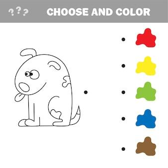 Pagina da colorare per bambini. illustrazione di vettore del cane. scegli il colore - puzzle
