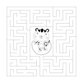 Pagina da colorare e gioco del labirinto per bambini che saltano la tigre divertente