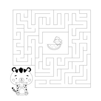 Pagina da colorare e gioco del labirinto con tigre kawaii e anguria