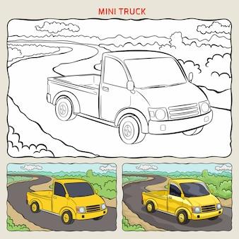 Pagina da colorare di mini camion in background con due campioni da colorare