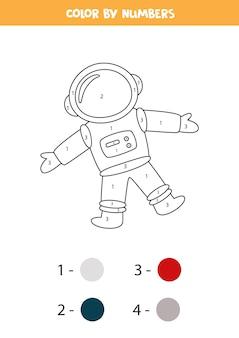 Pagina da colorare con l'astronauta. colora in base ai numeri. gioco di matematica per bambini.
