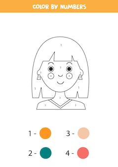 Pagina da colorare con la ragazza del fumetto colore in base ai numeri gioco di matematica educativo per bambini