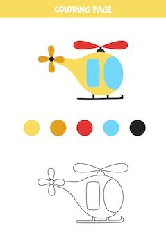 Pagina da colorare con elicottero dei cartoni animati. foglio di lavoro per bambini.