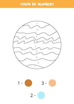 Pagina da colorare con il pianeta giove del fumetto. colora in base ai numeri. gioco di matematica per bambini.