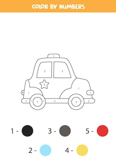 Pagina da colorare con auto della polizia dei cartoni animati. colora in base ai numeri. gioco di matematica per bambini.
