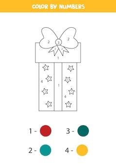 Pagina da colorare con scatola regalo del fumetto. confezione regalo colorata con numeri. gioco di matematica.