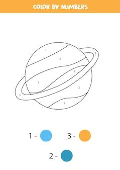 Pagina da colorare con il pianeta saturno del fumetto. colora in base ai numeri. gioco di matematica per bambini.