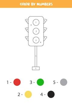 Pagina da colorare con semafori dei cartoni animati. colora in base ai numeri. gioco di matematica per bambini.