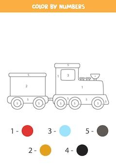 Pagina da colorare con treno dei cartoni animati. colora in base ai numeri. gioco di matematica per bambini.