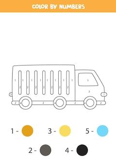 Pagina da colorare con camion dei cartoni animati. colora in base ai numeri. gioco di matematica per bambini.