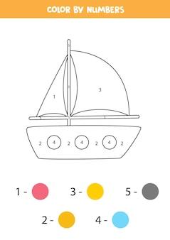 Pagina da colorare con yacht dei cartoni animati. colore per numeri. gioco di matematica per bambini.