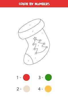 Pagina da colorare con calza di natale in numeri gioco di matematica educativo per bambini