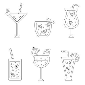 Pagina da colorare con simpatici cocktail estivi in bianco e nero.