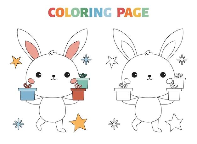 Pagina da colorare con coniglietto carino e regali