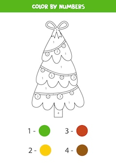 Pagina da colorare con albero di natale simpatico cartone animato. colora in base ai numeri. gioco di matematica educativo per bambini.