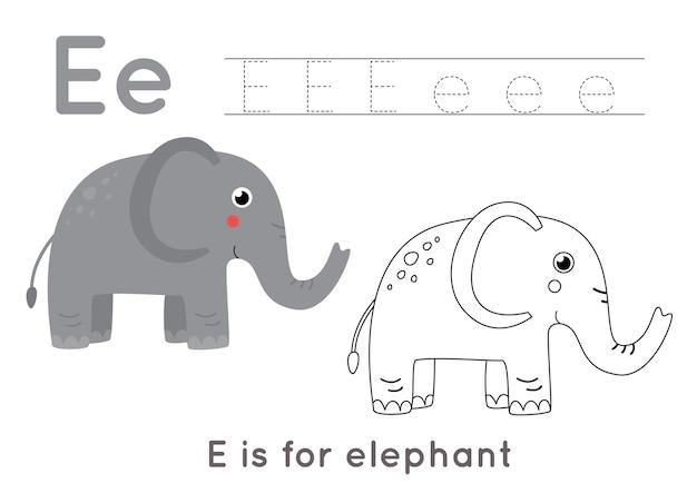 Pagina da colorare con elefante simpatico cartone animato. foglio di lavoro di tracciamento di alfabeto con la lettera e. pratica di scrittura a mano per bambini.