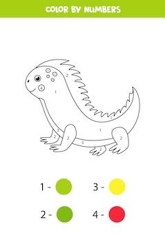Pagina da colorare con iguana simpatico cartone animato. immagine a colori in base ai numeri. gioco educativo per bambini.