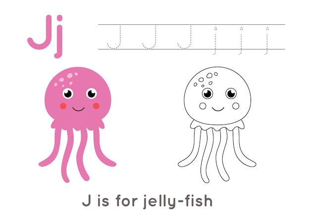 Pagina da colorare con meduse simpatico cartone animato. foglio di lavoro di tracciamento di alfabeto con lettera j. pratica di scrittura a mano per bambini.