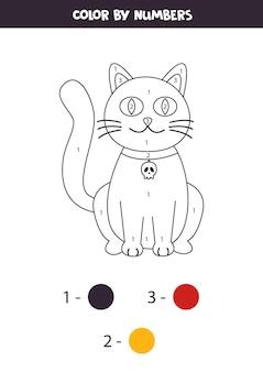 Pagina da colorare con simpatico gatto di halloween. colore per numeri. gioco di matematica per bambini.