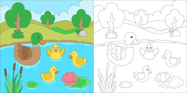 Pagina da colorare con anatra in uno stagno