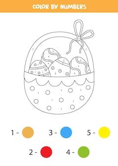 Pagina da colorare con cesto di pasqua pieno di uova. colora in base ai numeri. gioco di matematica per bambini.
