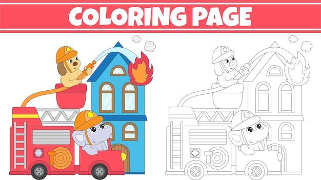 Pagina da colorare con camion dei pompieri