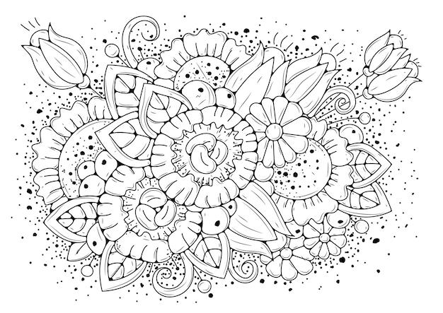 Pagina da colorare con fiori e boccioli. sfondo orizzontale per la colorazione.
