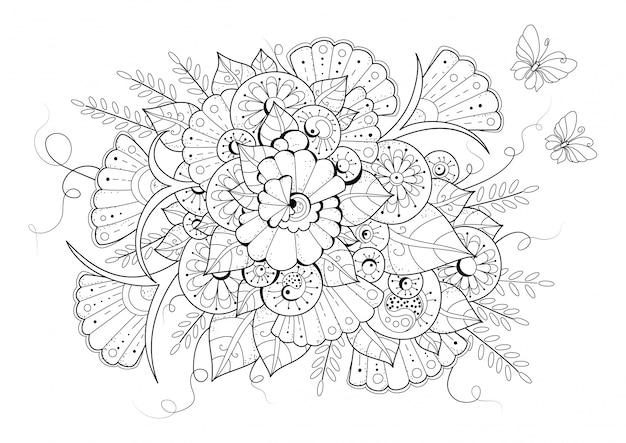 Pagina da colorare con fiori e farfalle. illustrazione vettoriale in bianco e nero per il disegno.