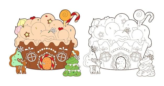 Pagina da colorare con le caramelle di natale della casa di pan di zenzero e il vettore dell'albero di pan di zenzero del nuovo anno