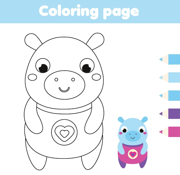 Pagina da colorare con ippopotamo. attività di disegno per bambini. divertimento stampabile per neonati e bambini. tema degli animali
