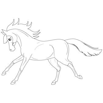 Pagina da colorare con cavallo. pittura per bambini.