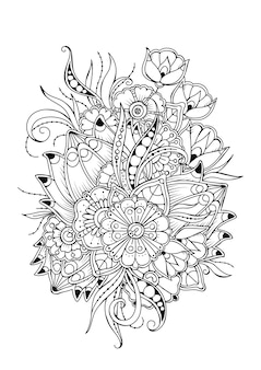 Pagina da colorare con fiori vintage. sfondo vettoriale in bianco e nero per la colorazione.