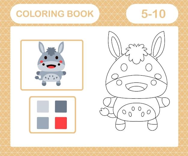Disegni da colorare asino dei cartoni animati, gioco educativo per bambini di età compresa tra 5 e 10 anni