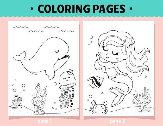 Pagine da colorare sirena e balena dei cartoni animati