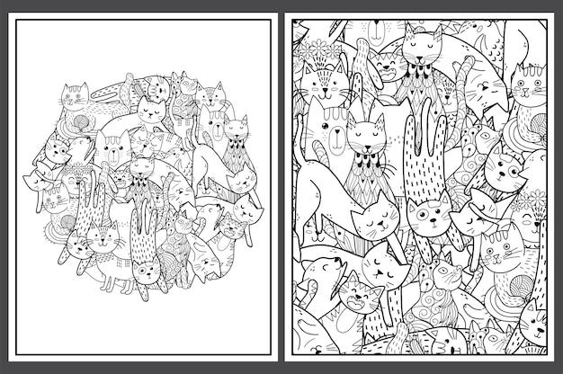 Pagine da colorare con illustrazione di gatti carino