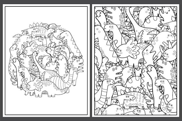 Pagine da colorare con simpatici dinosauri