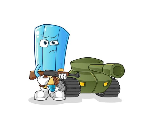 Il soldato con la matita colorata con il personaggio del carro armato. mascotte dei cartoni animati