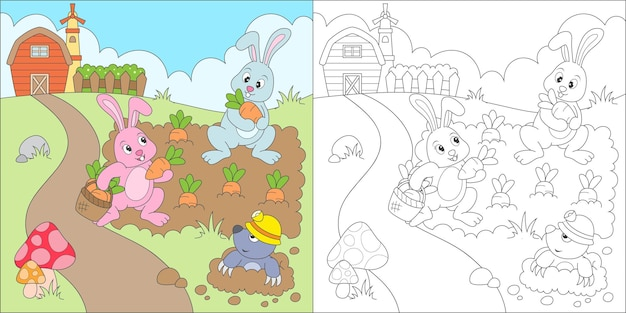 Coniglio da colorare che raccoglie carote