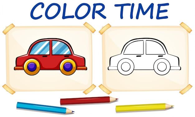 Modello da colorare con auto