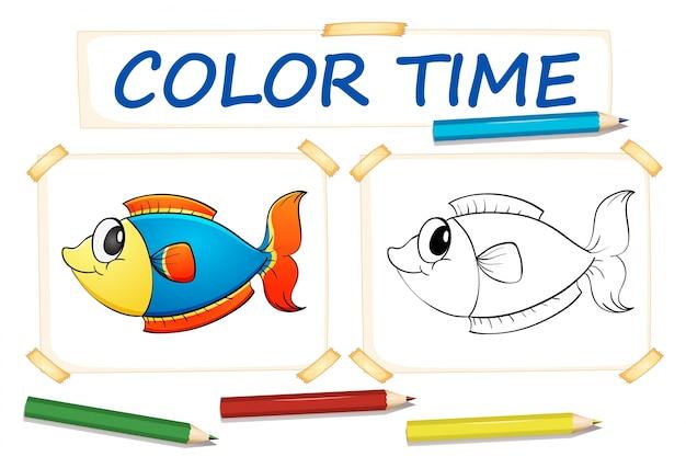 Modello da colorare con pesce