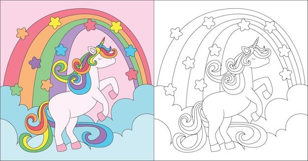 Unicorno da colorare che gioca sulla nuvola