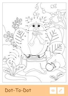 Procione incolore punto-punto che mangia una mela in un legno isolato su fondo bianco. bambini in età prescolare animali selvatici illustrazioni da colorare e attività di sviluppo.