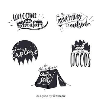 Collezione di logo avventura disegnati a mano incolore Vettore Premium